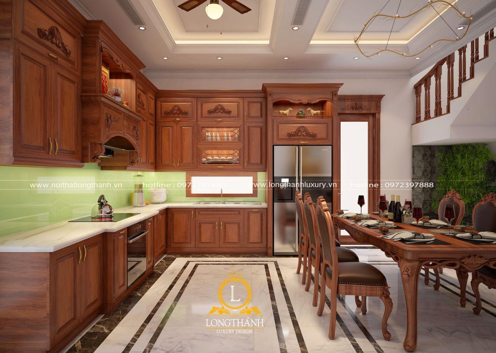 Làm tủ bếp gỗ Gõ đỏ cho không gian nhà phố phong cách hiện đại tiện lợi