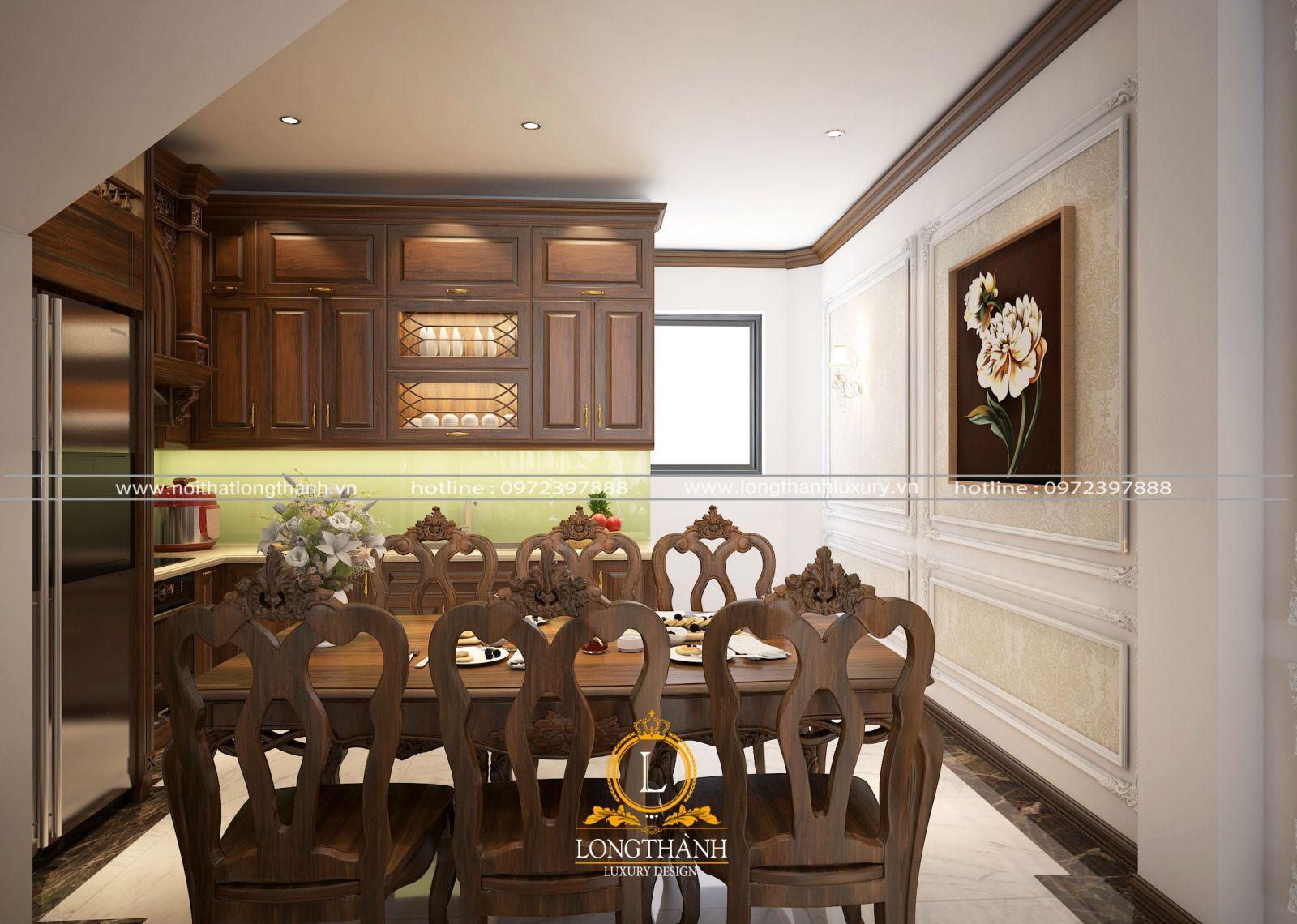 Thiết kế nội thất tủ bếp gỗ Gõ LT14 đơn giản cho nhà ống hẹp