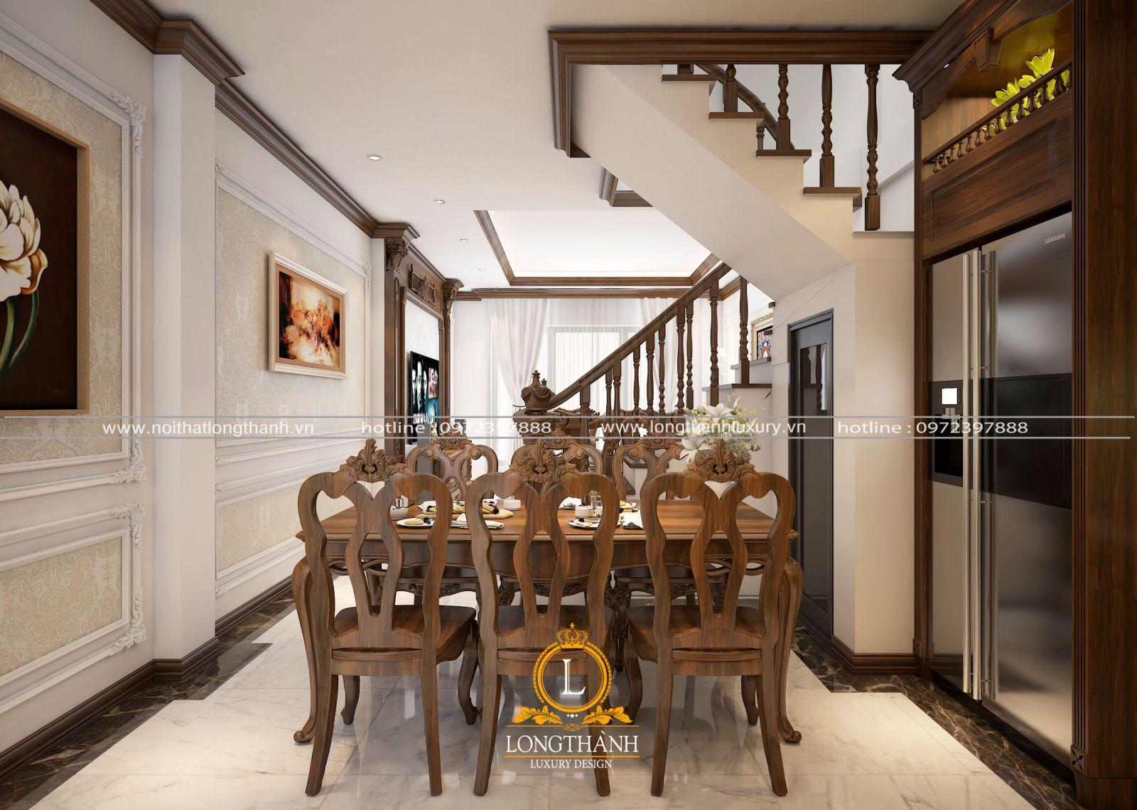 Bộ bàn ăn gỗ tự nhiên đồng bộ với màu sắc nội thất trong nhà