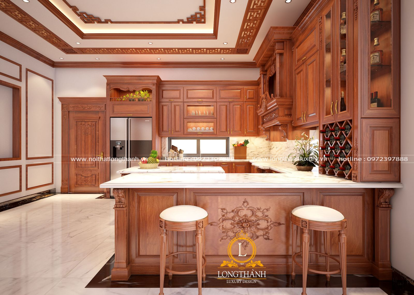 Mẫu tủ bếp gỗ Gõ LT15 cho không gian nhà rộng