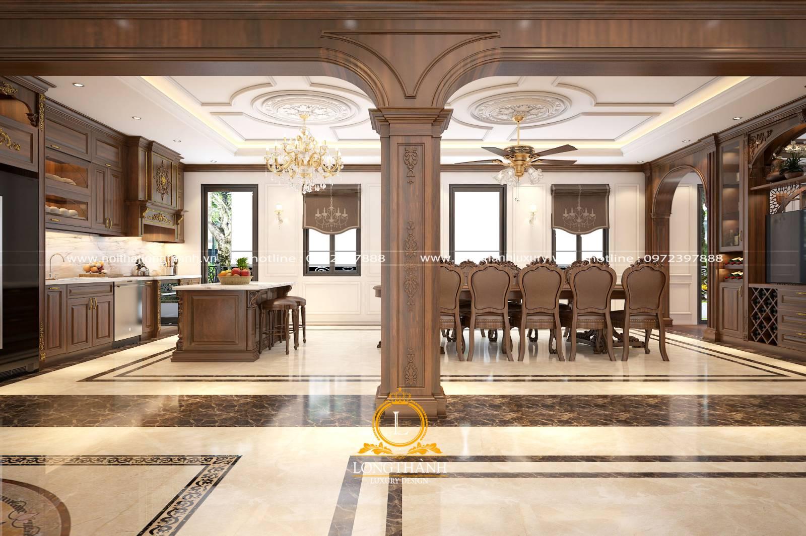 Tổng thể phòng bếp cho nhà biệt thự rộng với mẫu tủ bếp chữ I gỗ Gõ