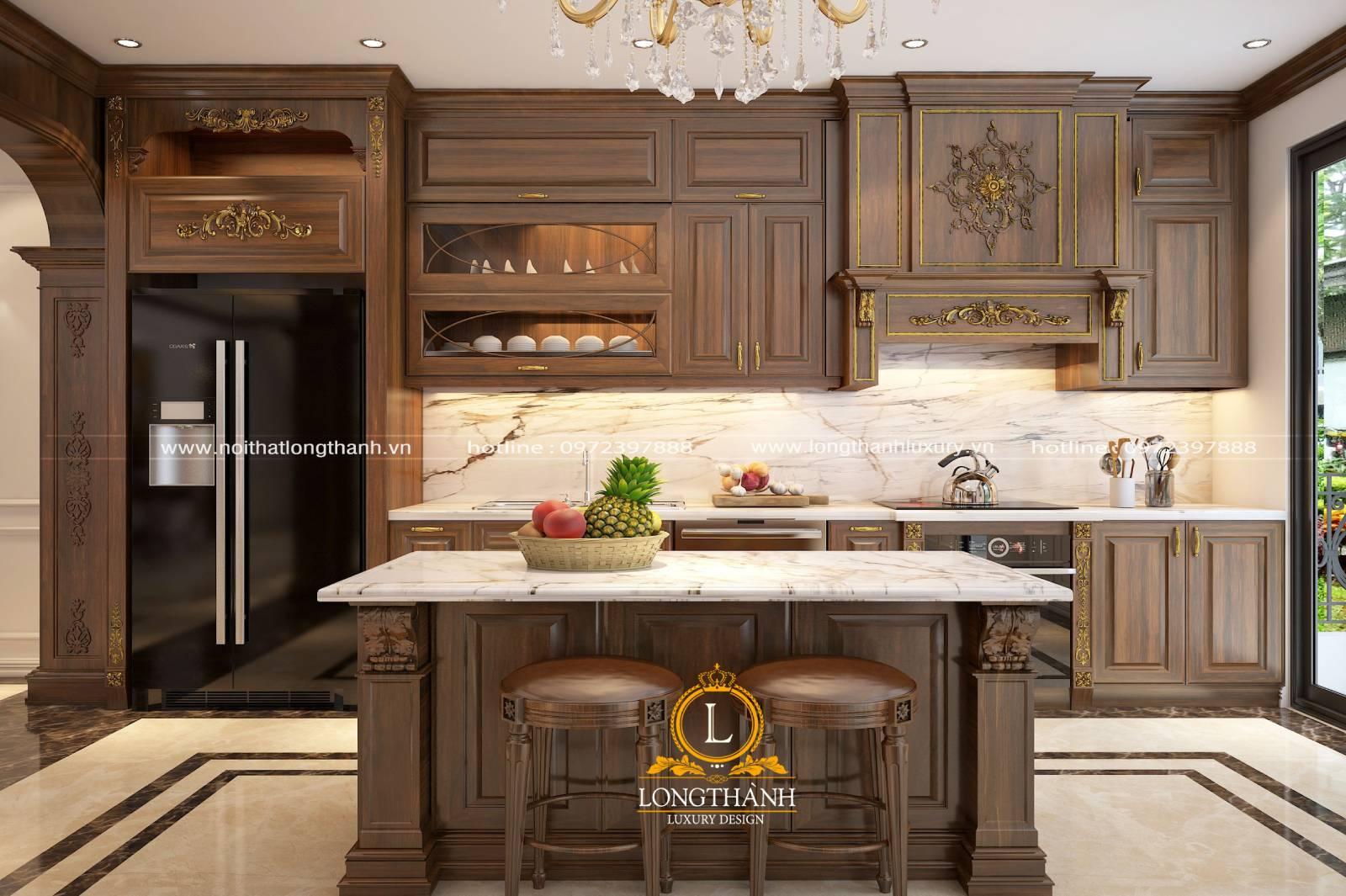 Mẫu thiết kế tủ bếp gỗ Gõ LT22 đơn giản kết hợp bàn đảo