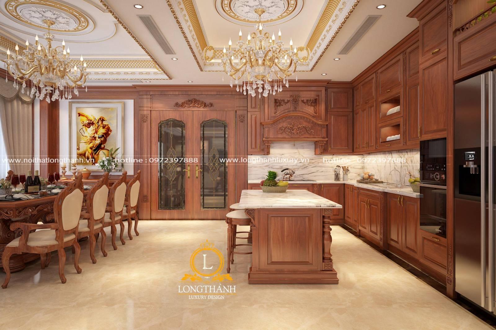 Thiết kế tủ bếp đẳng cấp tinh tế bằng chất liệu gỗ Gõ đỏ