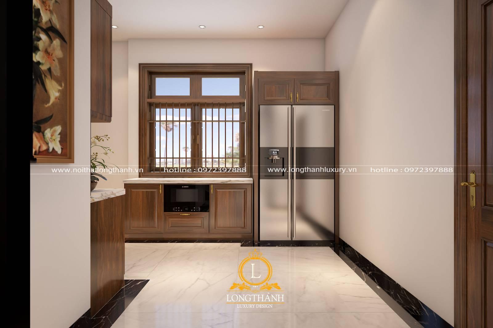 Trang trí tủ bếp gỗ Gõ đơn giản cho nhà chung cư