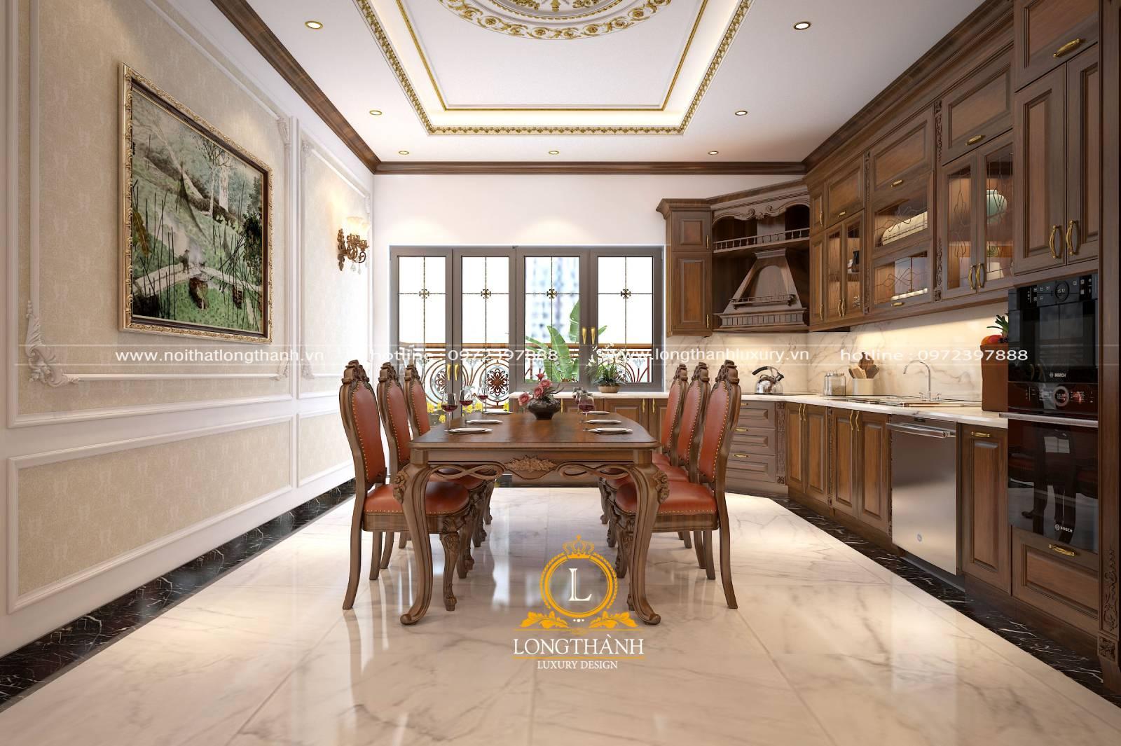 Mẫu tủ bếp gỗ Gõ đỏ dành cho thiết kế nội thất nhà phố hẹp tiện lợi