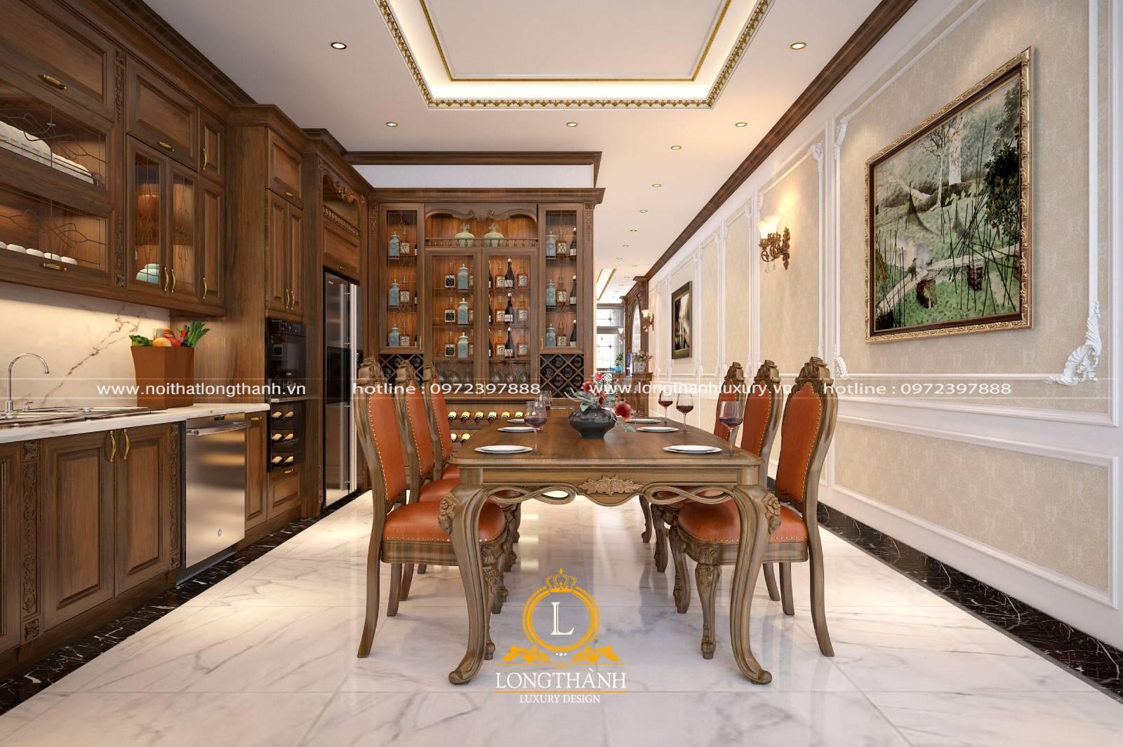 Trang trí tủ bếp hết hợp bàn ăn tiện lợi cho không gian bếp hẹp
