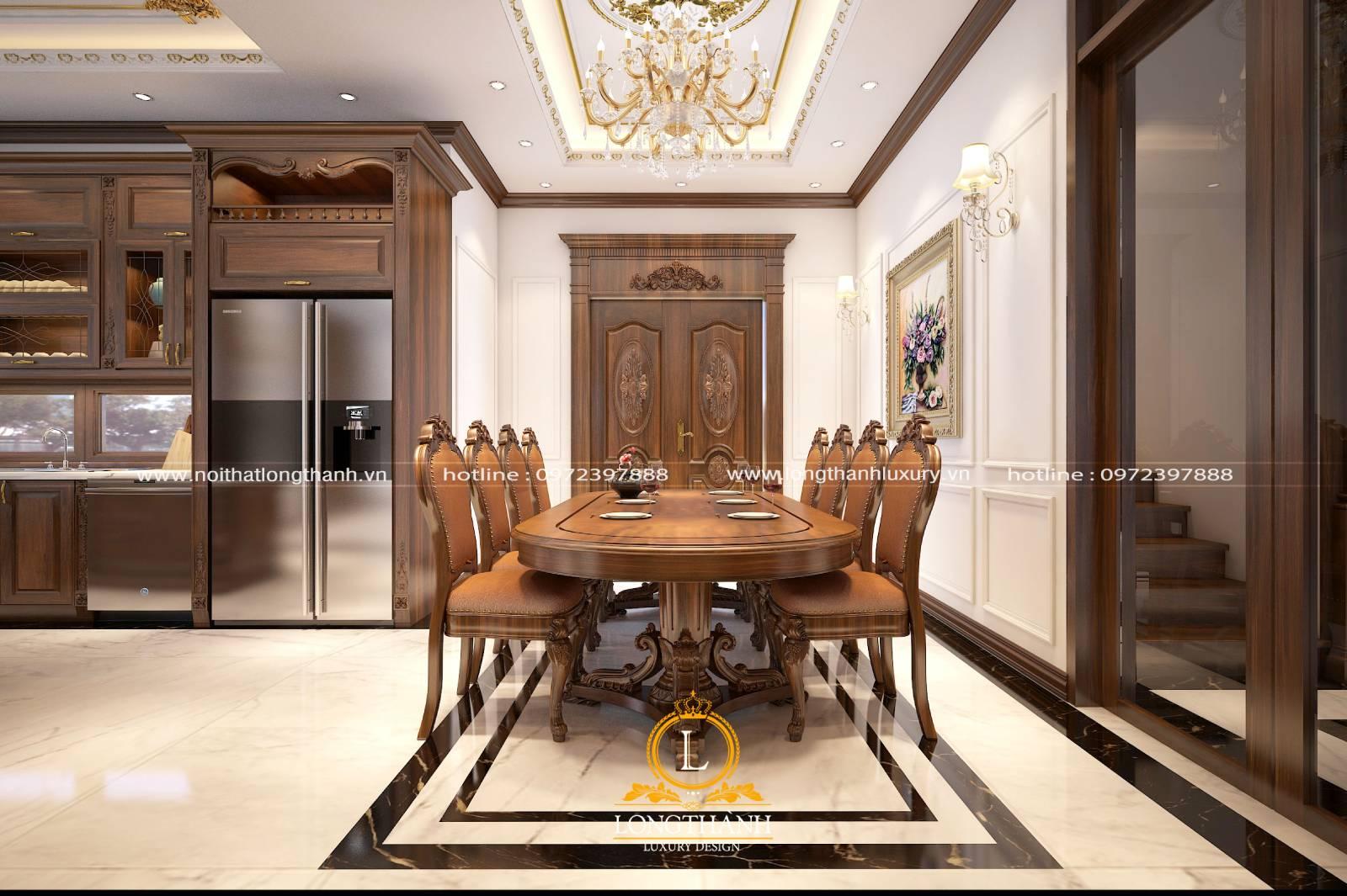 Tủ bếp gỗ Gõ đồng bộ với thiết kế nội thất phòng bếp và phòng khách