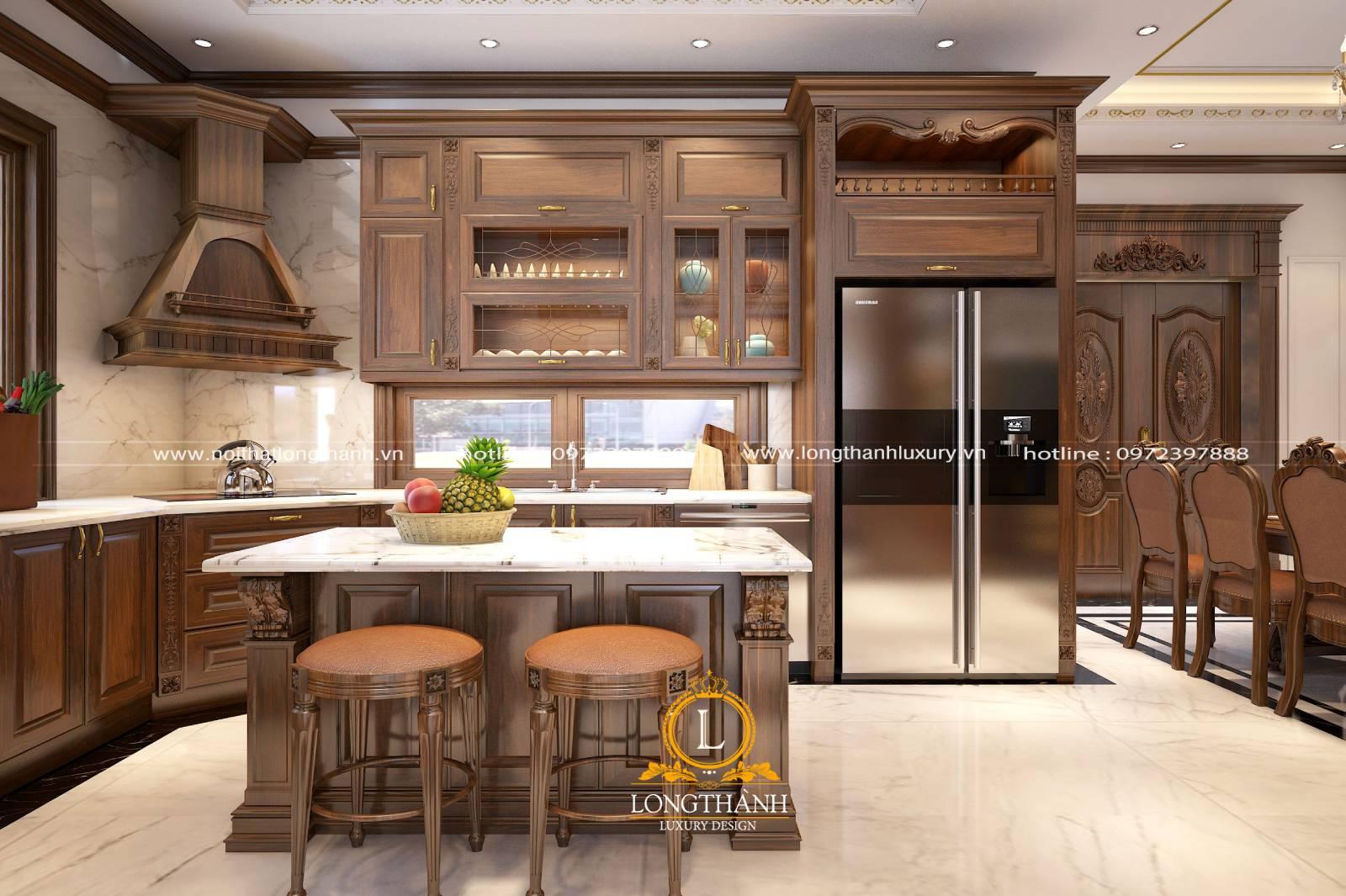 Mẫu tủ bếp gỗ Gõ dnfh cho những ai yêu thích chất liệu cùng màu nâu tự nhiên