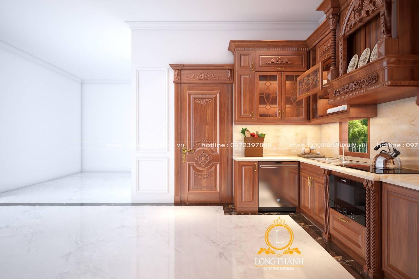 Thiết kế tủ bếp chữ U độc đáo bằng gỗ Gõ khi nhìn theo góc phải cửa