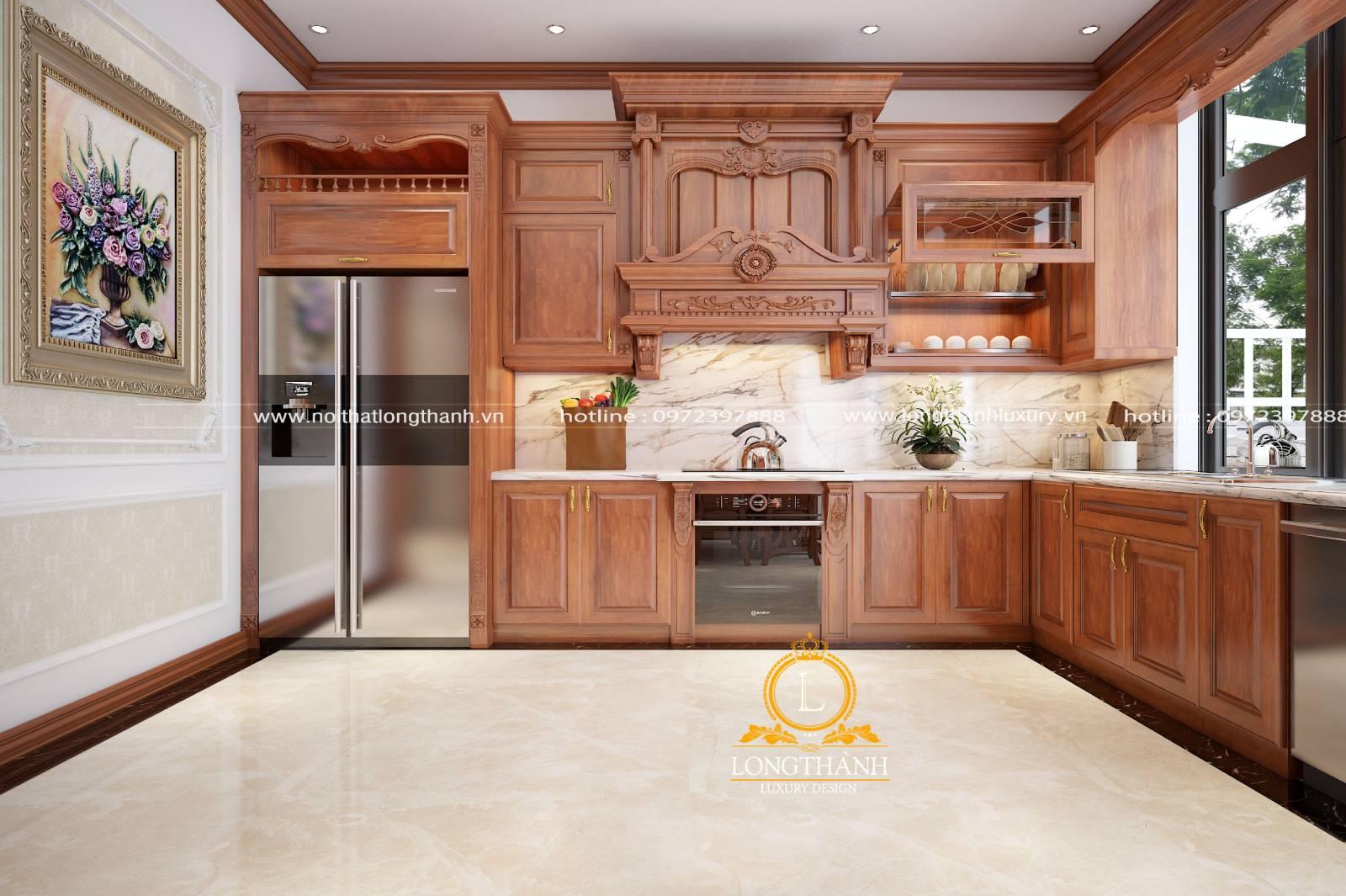 Mẫu tủ bếp tân cổ điển gỗ Gõ chữ L