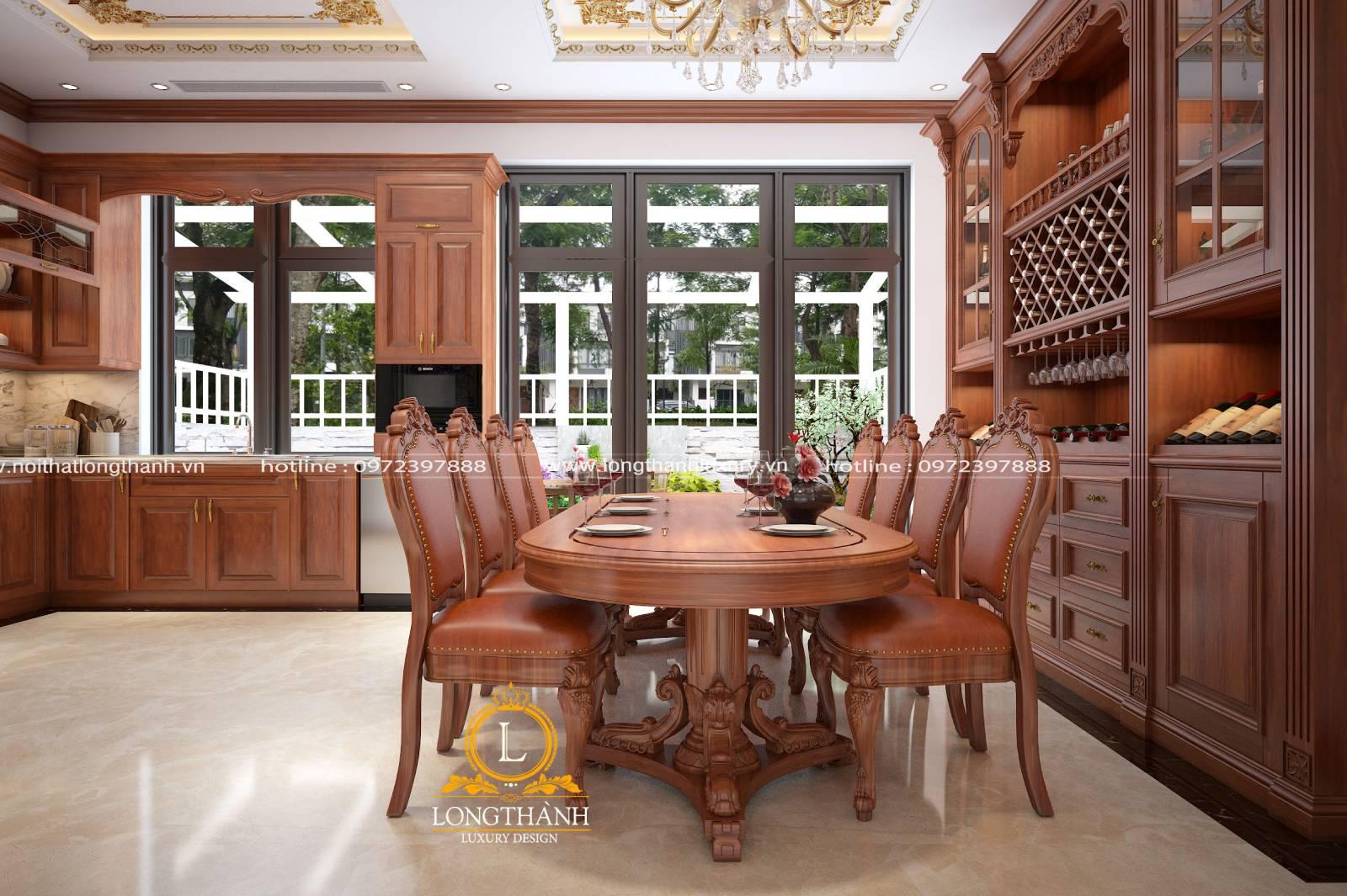 Mẫu tủ bếp gỗ Gõ tân cổ điển cho không gian ấm cúng