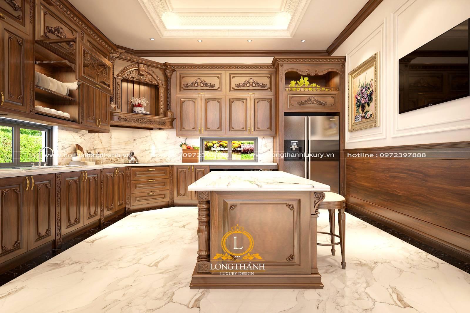 Thiết kế tủ bếp gỗ Gõ cao cấp cho nhà biệt thự rộng