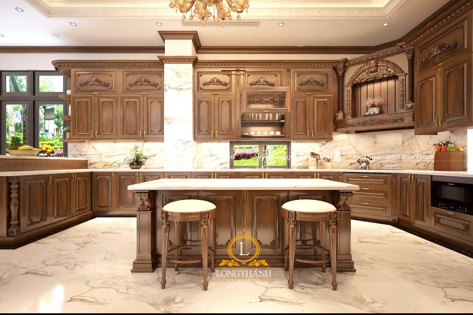 Thiết kế tủ bếp gô Gõ sang trọng tinh tế mang phong cách tân cổ điển