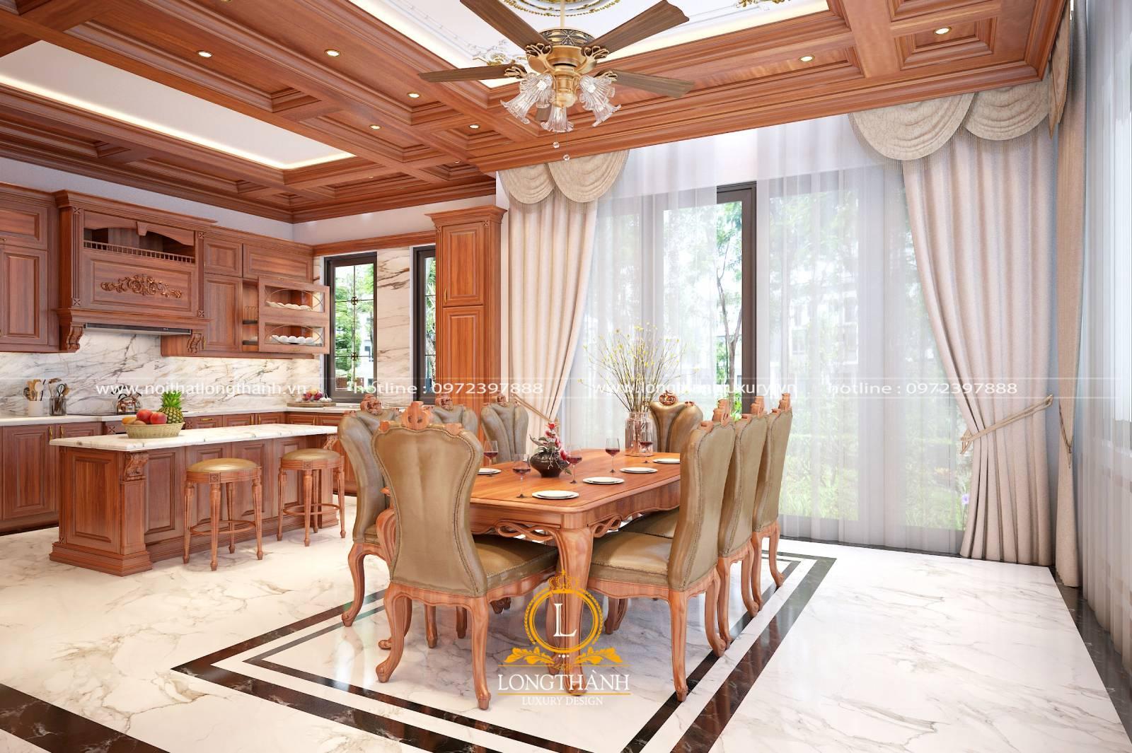 Mẫu tủ bếp gỗ Gõ cho nhà biệt thự kết hợp bàn đảo và bàn ăn