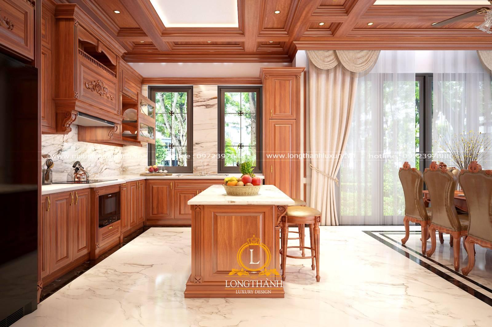 Tủ bếp gỗ Gõ cho nhà biệt thự nhìn từ cửa vào