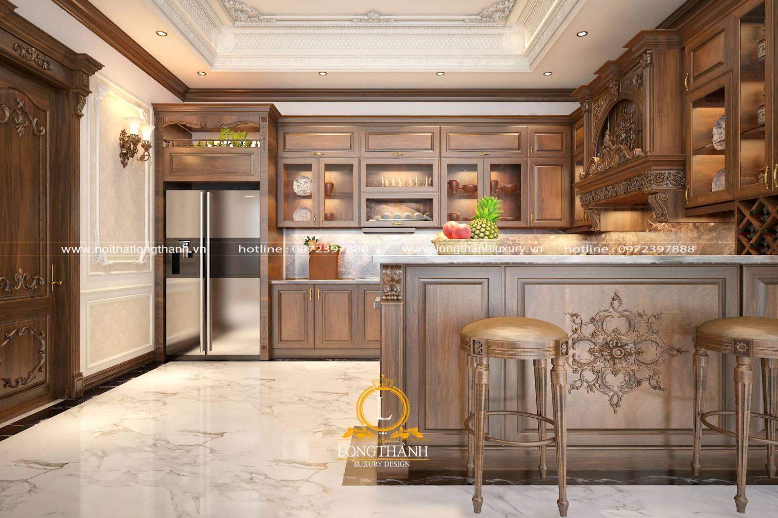 Thiết kế tủ bếp gỗ Gõ hình chữ U cho nhà biệt thự rộng
