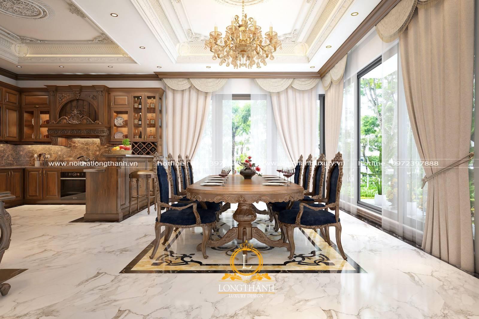 Mẫu tủ bếp gỗ Gõ đồng bộ với tổng thể nội thất trong nhà