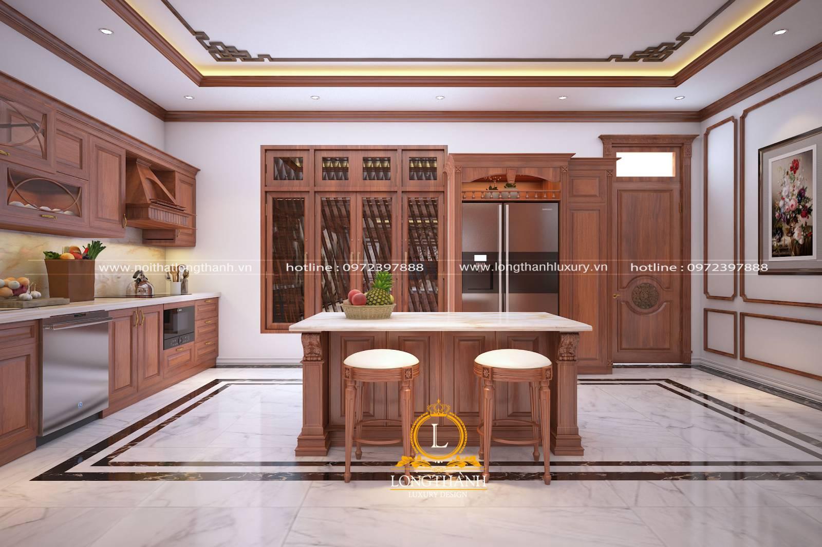 Thiết kế tủ bếp chữ I gỗ Gõ đồng bộ với tổng thể nội thất nhà