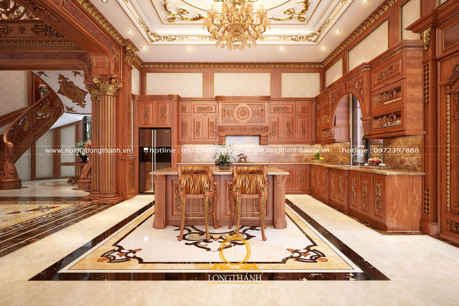 Thiết kế tủ bếp gỗ gõ đỏ mạ vàng cho nhà biệt thự rộng
