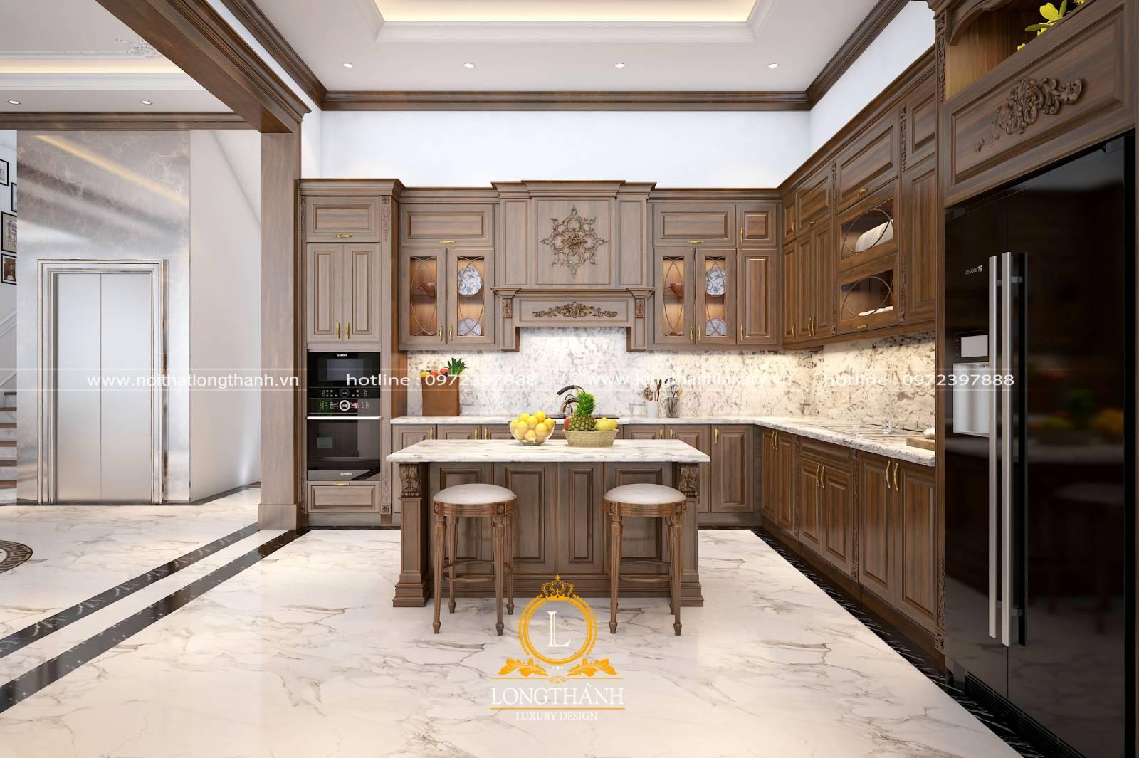 Mẫu tủ bếp gỗ Gõ cho biệt thự rộng sang trọng ấm cúng