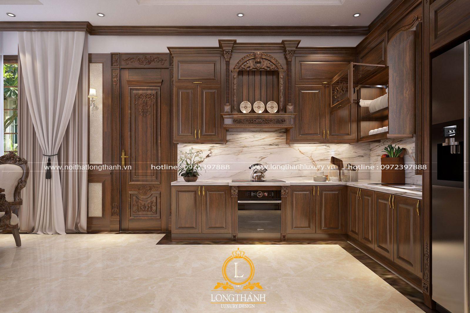 Tủ bếp gỗ Gõ LT58