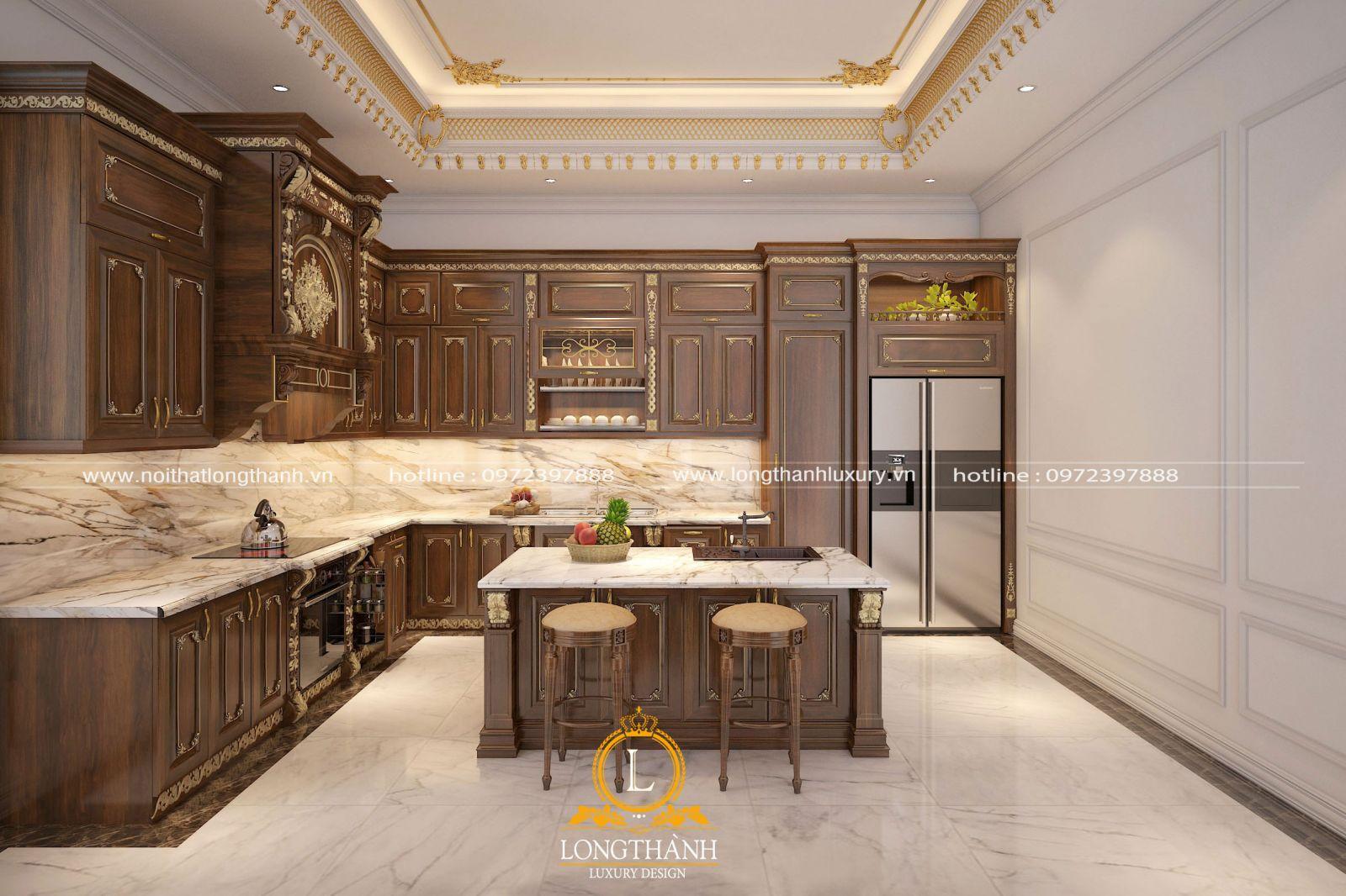 Thiết kế tủ bếp gỗ Gõ dành cho nhà biệt thự tân cổ điển