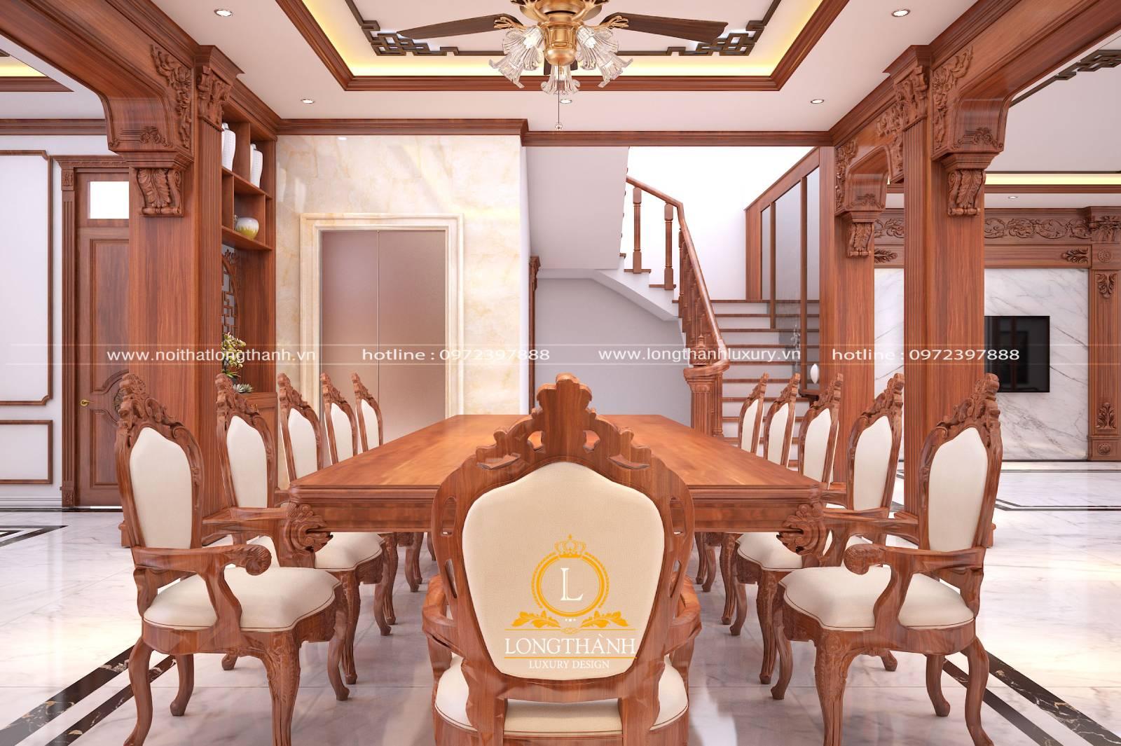 Thiết kế bàn ăn gỗ Gõ sang trọng tinh tế cho nhà biệt thự rộng