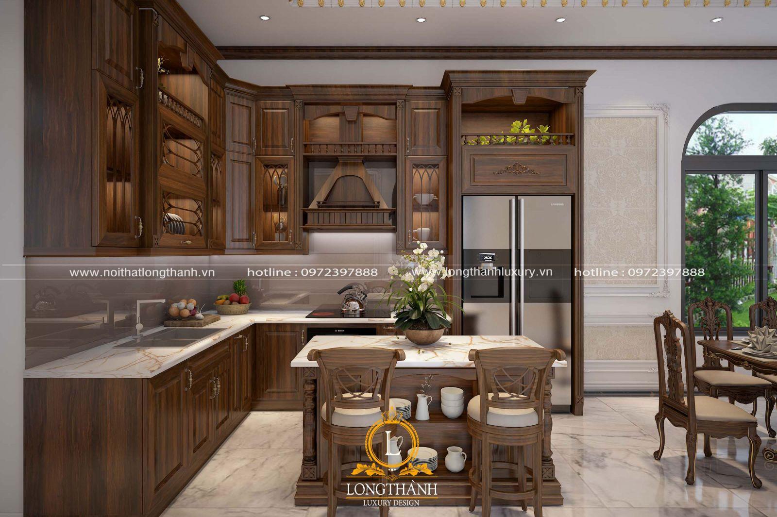 Không gian bếp khá mở với view nhìn ra vườn rộng đẹp