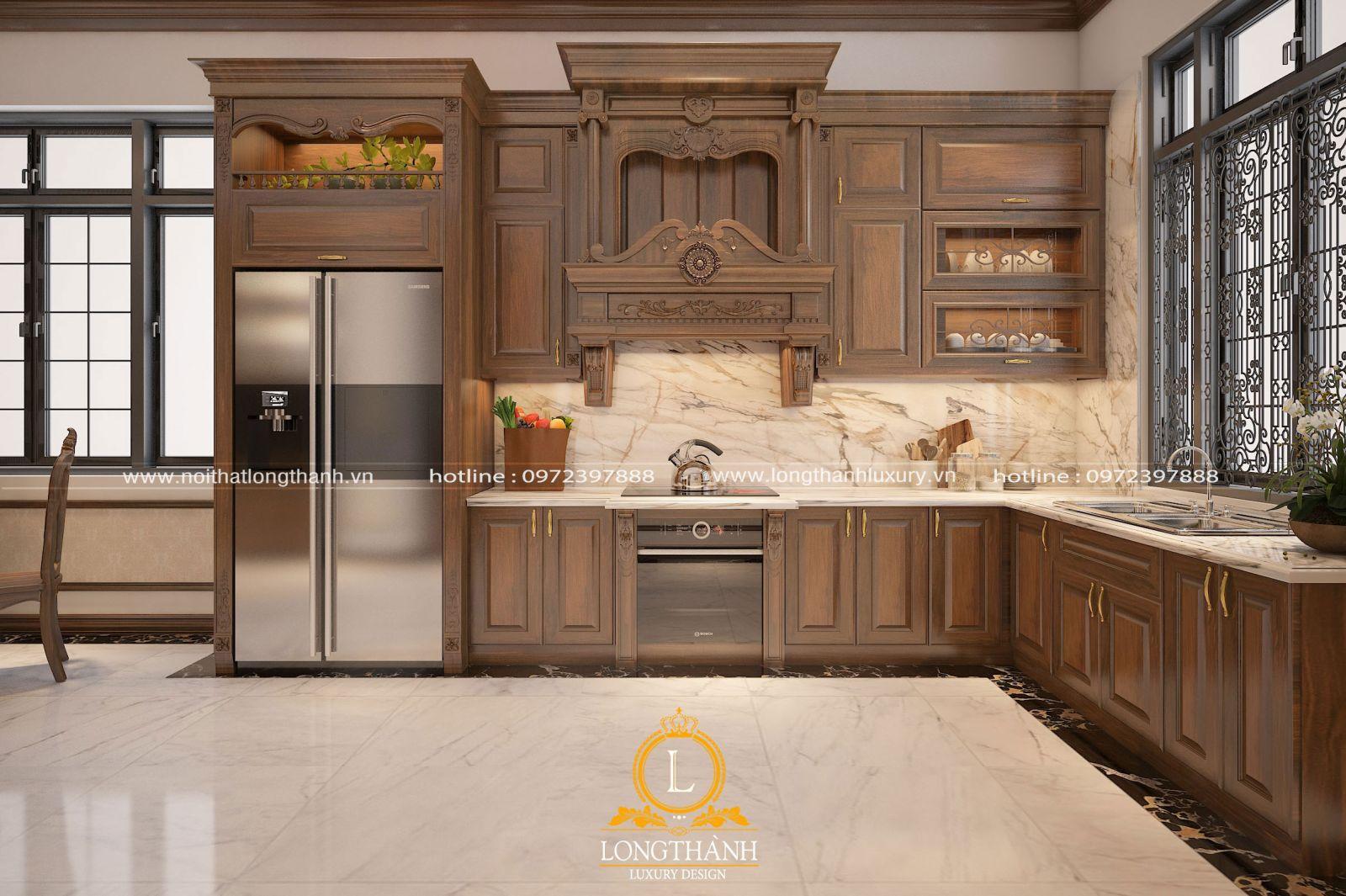 Tủ bếp gỗ tự tự nhiên luôn có độ chắc chắn và bếp đẹp theo thời gian