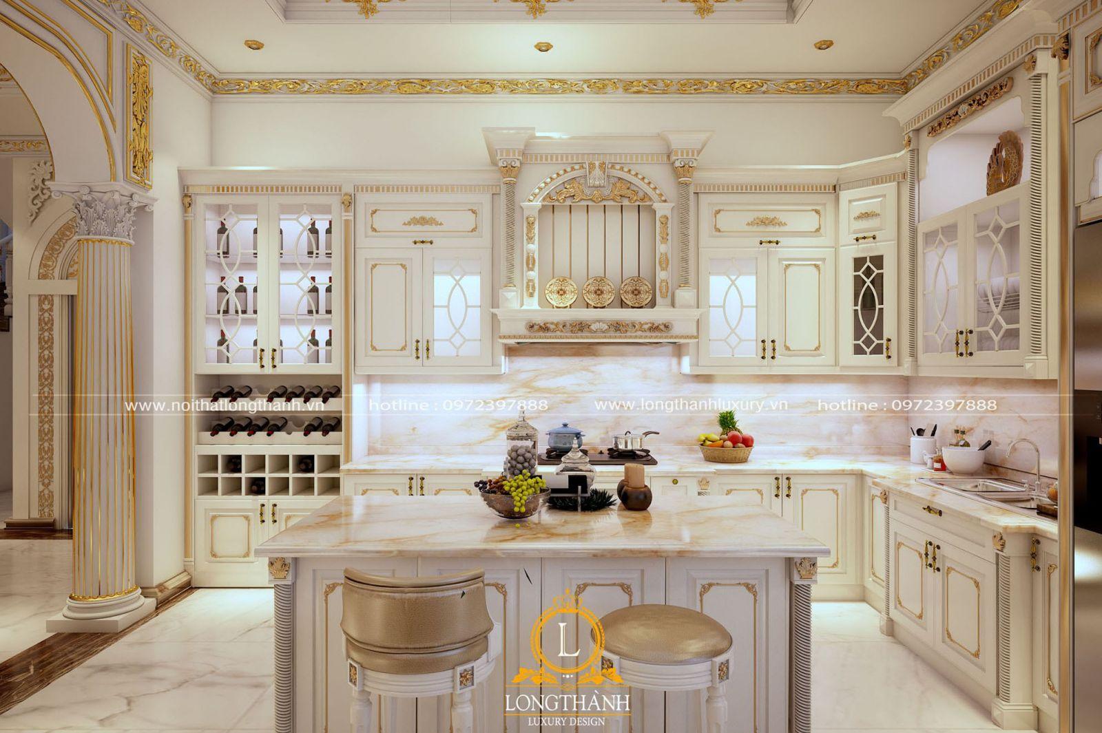 Thiết kế tủ bếp kết hợp tủ rượu cho nhà biệt thự phong cách tân cổ điển sơn trắng