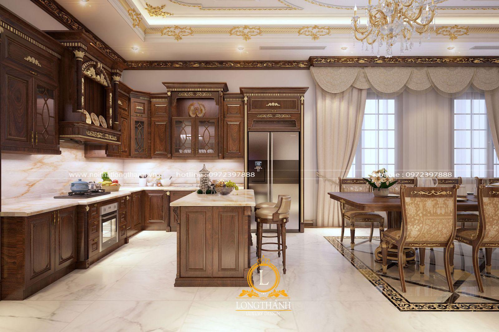 Mẫu tủ bếp gỗ Óc chó sơn nâu mạ vàng khẳng định nên đẳng cấp của không gian