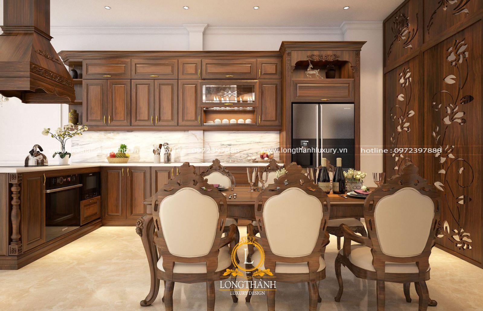 Thiết kế tủ bếp gỗ Óc chó đồng bộ với bộ bàn ghế ăn sang trọng đẳng cấp
