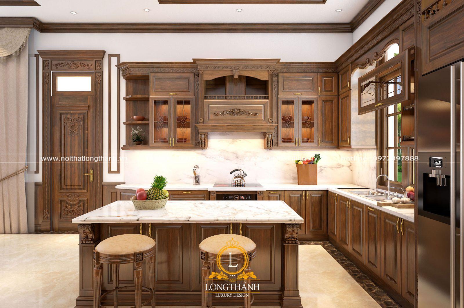 Mẫu tủ bếp gỗ Óc chó chữ L cho phòng bếp cao cấp