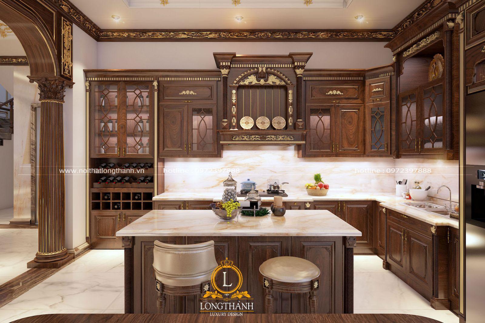 Thiết kế tủ bếp gỗ Sồi kèm tủ rượu và bàn đảo