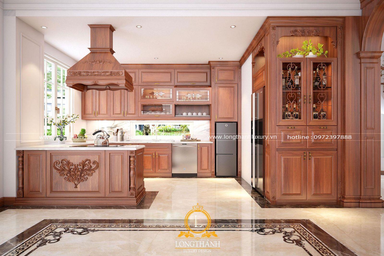 Tủ bếp gỗ sồi sơn đỏ đậm chất tân cổ điển