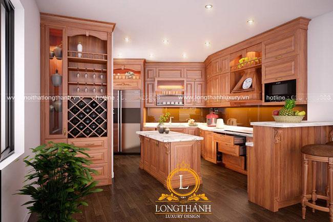 Mẫu tủ bếp gỗ tự nhiên sơn PU đẹp LT42 góc nhìn thứ 1