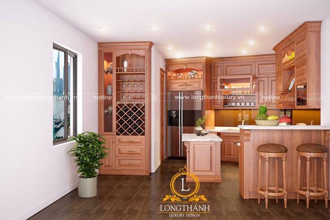 Mẫu tủ bếp gỗ tự nhiên sơn PU đẹp LT42 góc nhìn thứ 2