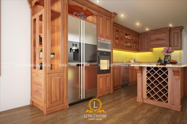 Mẫu tủ bếp gỗ tự nhiên sơn PU đẹp LT43 góc nhìn thứ 2