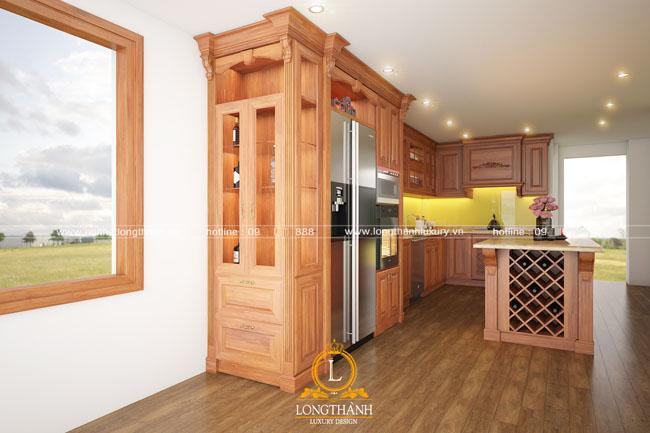 Mẫu tủ bếp gỗ tự nhiên sơn PU đẹp LT43 góc nhìn thứ 3