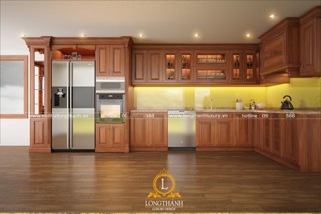 Mẫu tủ bếp gỗ tự nhiên sơn PU đẹp LT43 góc nhìn thứ 1