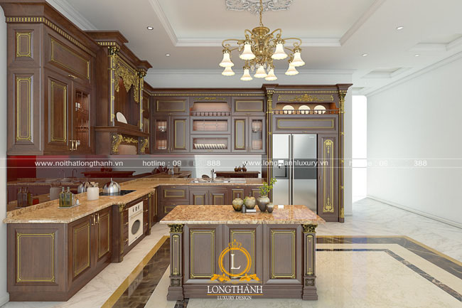 Mẫu tủ bếp gỗ tự nhiên đẹp LT 44 góc nhìn thứ 3