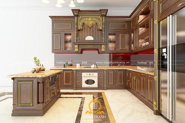 Mẫu tủ bếp gỗ tự nhiên đẹp LT 44 góc nhìn thứ 2