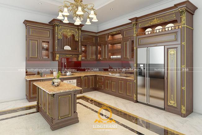 tủ bếp gỗ tự nhiên sơn PU lt44 góc nhìn thứ 1