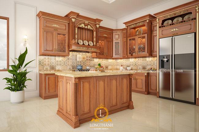 tủ bếp gỗ tự nhiên sơn pu lt45 góc nhìn thứ 2
