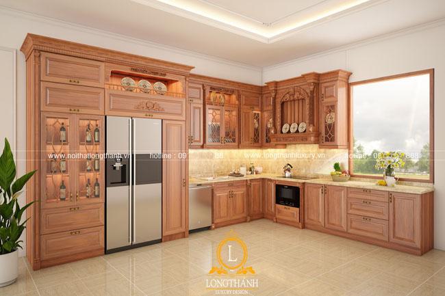 tủ bếp gỗ tự nhiên sơn PU LT47 góc thứ 2