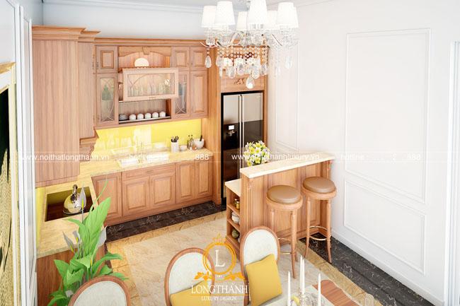 tủ bếp gỗ tự nhiên sơn pu lt48 góc thứ 3