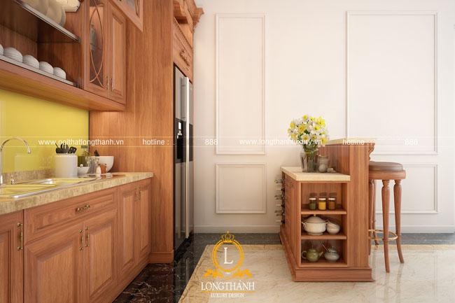 tủ bếp gỗ tự nhiên sơn pu lt48 góc thứ 4