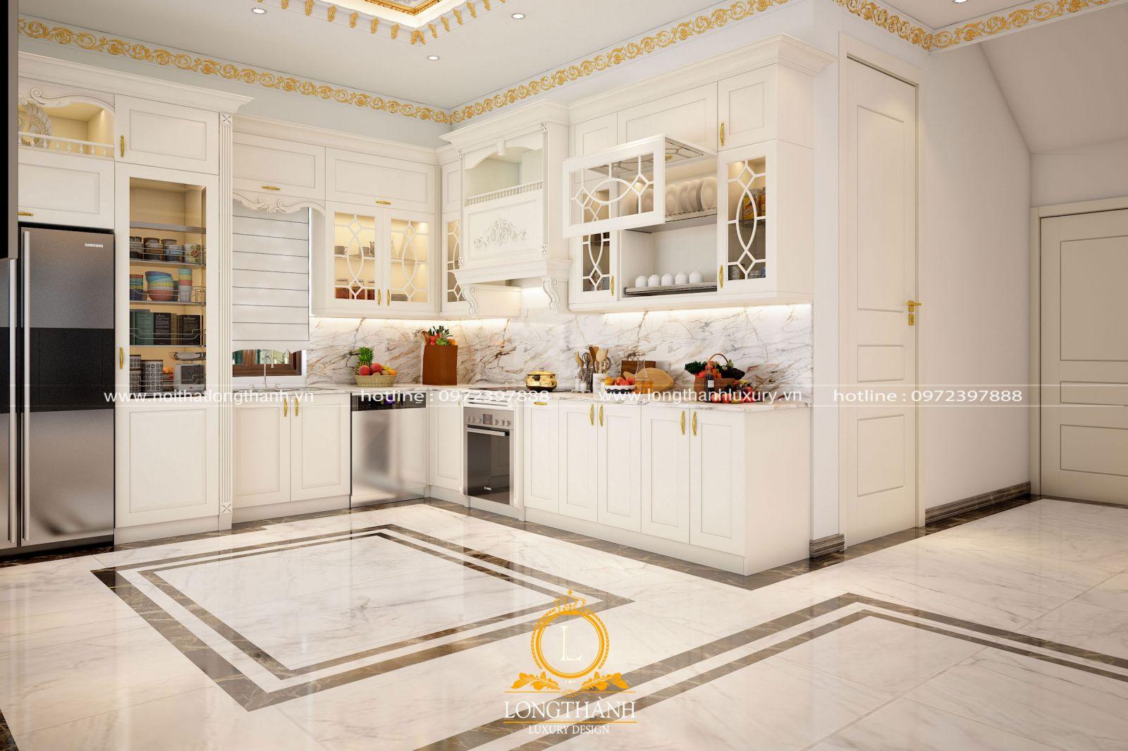 Thiết kế tủ bếp tân cổ điển làm từ gỗ tự nhiên được sơn trắng