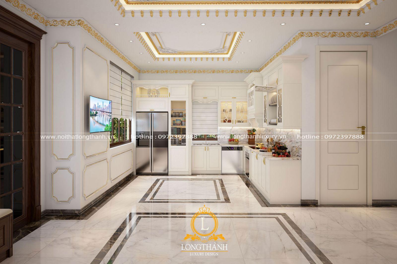 Tủ bếp gỗ sơn trắng mang đến không gian sang trọng và tinh tế