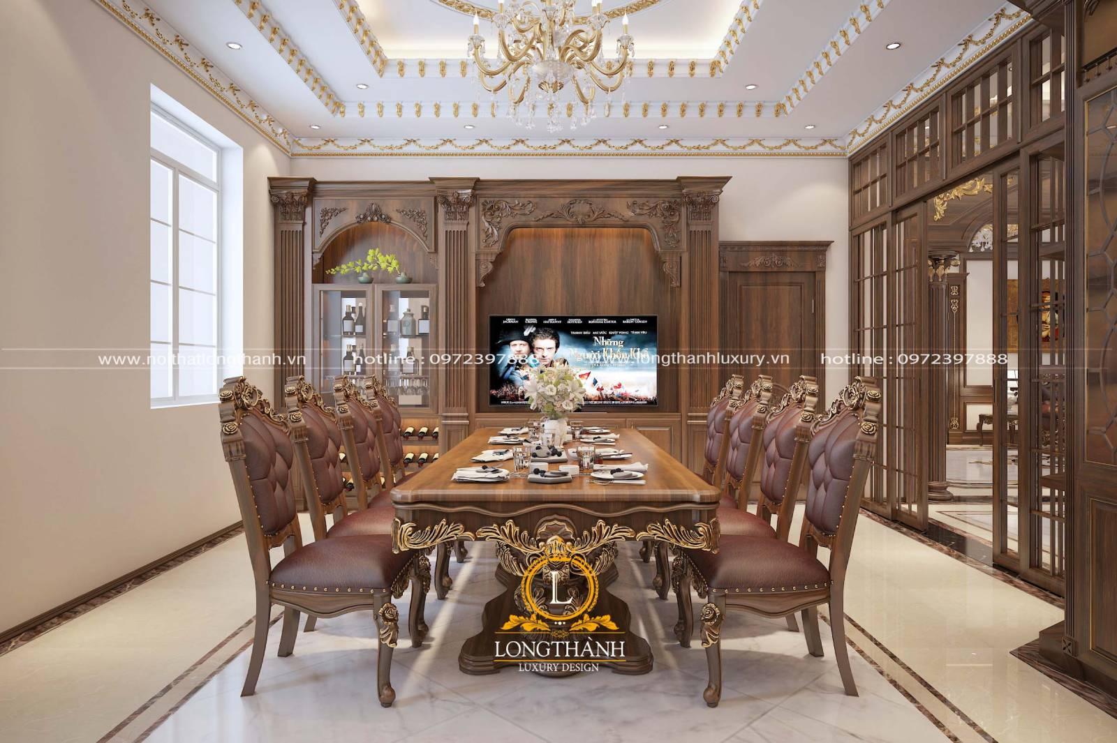 Thiết kế tủ bếp gỗ Gõ kết hợp đồng bộ với bàn ăn và nội thất phòng bếp